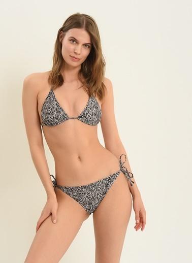Morhipo Beach Kadın Üçgen Zebra Desenli Bikini MBKSS21BK0002 Bej